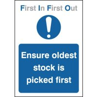 'Ensure Oldest Stock is Picked First' Sign in Choice of Materials