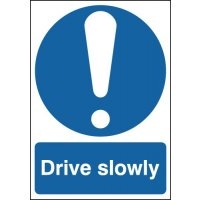 "Durable Blue and White ""Drive Slowly"" Warning Signs"