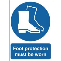Durable eye-catching signs stating 'foot protection must be worn'