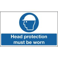 Self-adhesive head protection floor sign with non-slip coating
