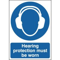 Plastic Or Vinyl 'Hearing Protection Must Be Worn' Signs