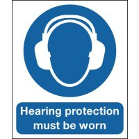 Hearing Protection Must Be Worn' Deluxe Safety Sign