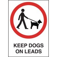 Keep Dogs on Leads Sign with Words and Symbol