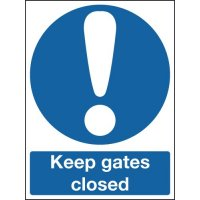 Keep gates closed warning sign