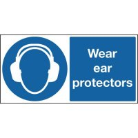 Adaptable, informative 'wear ear protection' signs