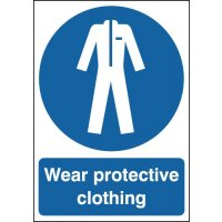 Universal blue and white 'wear protective clothing' signage