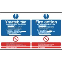 Dual language fire action instruction signs