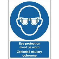 Eye Protection Must Be Worn Polish/English Signs
