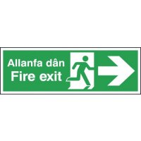 Fire Exit (Arrow Right) English/Welsh Signs