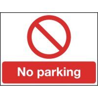 Reflective Rigid Plastic 'No Parking' Sign with Prohibition Symbol