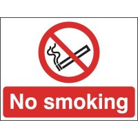 Plastic or vinyl 'no smoking' sign