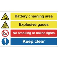Signs warning of battery charging and explosive gases