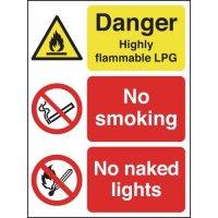 No smoking, no naked lights' flammable LPG multi-message warning sign