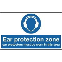 'Ear Protection Zone' Safety Sign in Choice of Materials