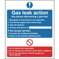 Gas Leak Action' Mandatory Safety Sign in Choice of Materials