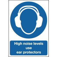 High Noise Levels – Use Ear Protectors' Sign with Large Symbol