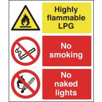 Easy to Spot 'High Flammable LPG' Multi-Message Sign with Symbols