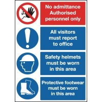 No admittance'/PPE multi-message safety signs