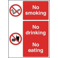 Standalone Table Signs With 'No Smoking, Drinking And Eating' Message
