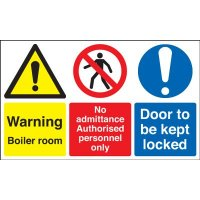 Universal warning multi-message sign for boiler rooms