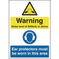 Noise level multi-message warning sign in a choice of sizes and materials