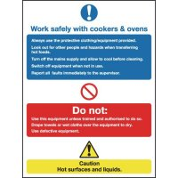 Work safely with cookers & ovens' multi-message, easy-to-mount signs