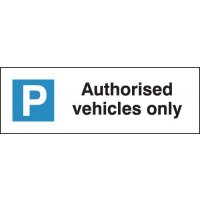 Banner signs informing parking bay for authorised vehicles only