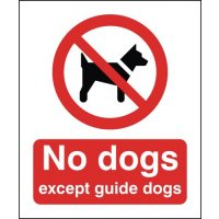 No Dogs Except Guide Dogs Window Fix Signs
