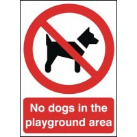 Clear and informative No Dogs in Playground Area Sign