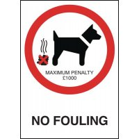 No Dog Fouling £1000 Penalty Sign with Satin Finish