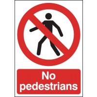 Clear and durable 'no pedestrians' signs