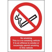 This is a No Smoking Vehicle' Safety Information Sign