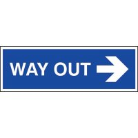 Way out' right direction arrow sign for clear instruction