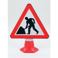 Road Works Mountable Traffic Cone Sign