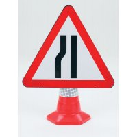 Left Road Narrowing Mountable Traffic Cone Sign
