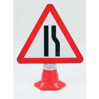 Road Narrows (Right) Polypropylene Traffic Cone Sign