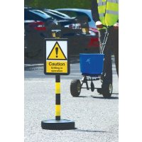 Temporary 'Caution Gritting in Operation' Car Park Sign