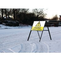 Stanchion Mounted Hazard Warning Sign - Gritting In Operation