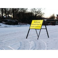 Walkway closed due to snow and ice' foam stanchion sign