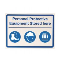 "Plastic ""PPE stored here"" sign with decal sheet"