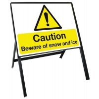 Durable Winter Safety Sign Kit with Steel Stanchion