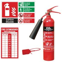 Complete CO2 fire extinguisher kit with sign