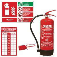 Essential water fire extinguisher sign and seal kits
