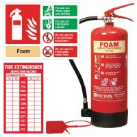 AFFF foam fire extinguisher with complete sign and label kit