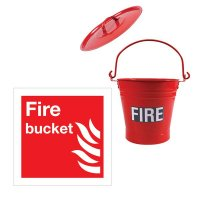 Fire Safety Kit including Bucket, Lid & Sign