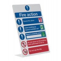 Freestanding 'Fire Action' Table-top Sign with Images