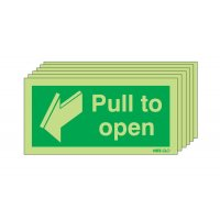Glow-in-the-dark pull to open fire door signs, six per pack