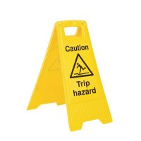 Highly-visible plastic 'trip hazard' floor-standing sign