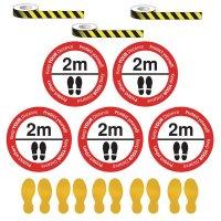 Social Distancing - Chevron Tape & Floor Sign Kit