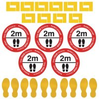 Social Distancing - Corner & Please Stand 2m Apart Floor Sign Kit